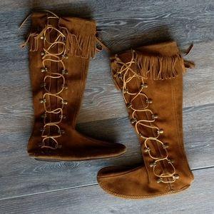 Tall fringe side lace Minnetonka moccasin boot